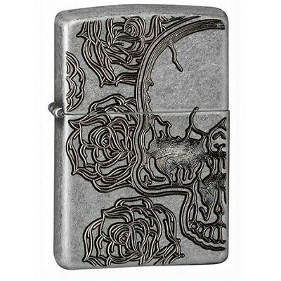 Zippo Skull and Rose Armor Antique Silver Plate Lighter Brand New