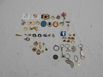 Lot of 50 Miscellaneous Small Jewelry Items - Broaches/Pins/Tie Clips/Etc.