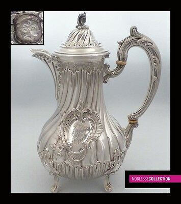 LUXURIOUS ANTIQUE 1890s FRENCH FULL STERLING SILVER COFFEE POT of Rococo style