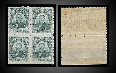 1879 - 1882 Mexico Benito Juarez 50 C Mint N. H. Thin Wove Paper Block Of 4