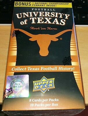 University of Texas Football Factory Sealed Trading Card Box. 10pks. Upper Deck.