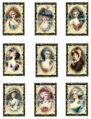 "Edwardian Victorian Ladies Cotton Fabric Quilt Block (9) @ 2X3"" on 8.5X11"" Sheet"