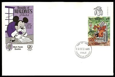 December 21, 1985 first-day cover with cachet Maldives Mickey Mouse