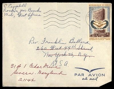 Mali single franked West Africa covers New York City mailed