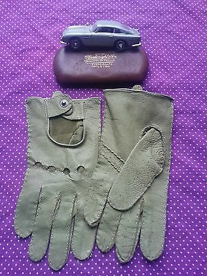 Stylish Vintage green Leather Driving Gloves.Scooter,Mod,Sports Car.Small vgc