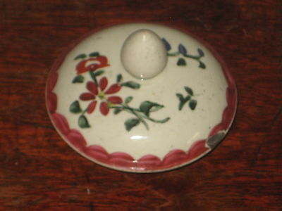 Antique Pottery Top Lid With Finial Hand Painted Flower Design