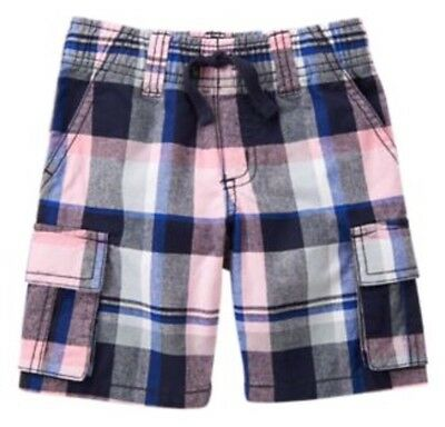 Gymboree Jawsome Boys Shorts Size 4 Cargo Plaid Pink Blue Nwt