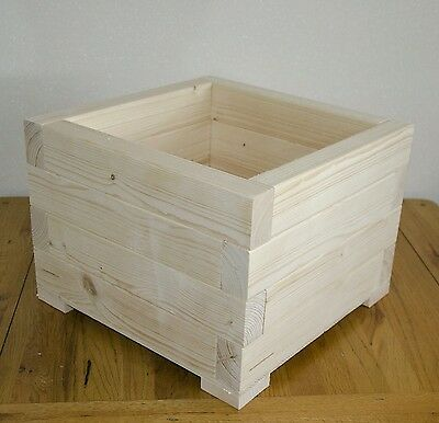 Large Square Wooden Wood Garden Plant Flower Herbs Basket Pot Planters