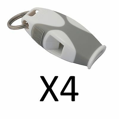 Fox 40 Sharx Whistle With Lanyard Referee Coach Survival Outdoor White (4-Pack)
