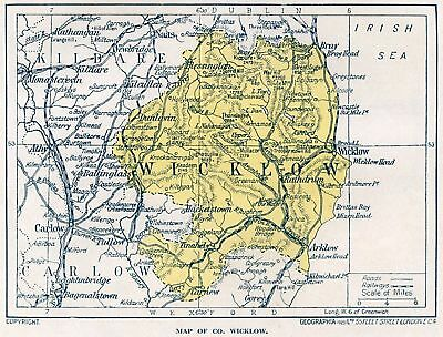1923 Ireland Map: County Wicklow ready-mounted antique print SUPERB