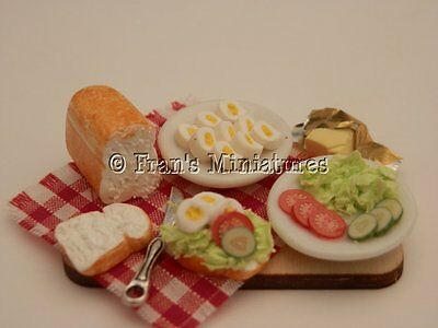 Dolls house food: Making egg salad sandwiches prep board  -By Fran
