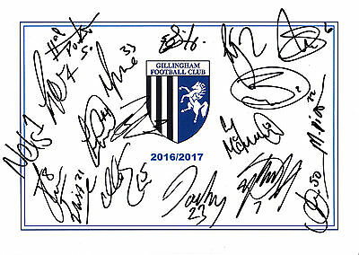 Gillingham Fc, 2016/17 Superb Hand Signed A4 Card Sheet By (18X)