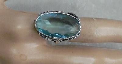 Deco Sterling Art Nouveau Design Ring W, Faceted Blue Crystal Oval Stone Ring S