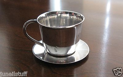 Vintage Currier & Roby Sterling Silver Miniature Child's Cup & Saucer 25.2