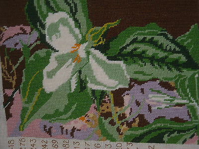 09 Lovely Completed Needlepoint White flower floral
