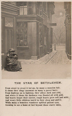 Homeless Poverty Person The Star Of Bethlehem Religious Songcard Postcard