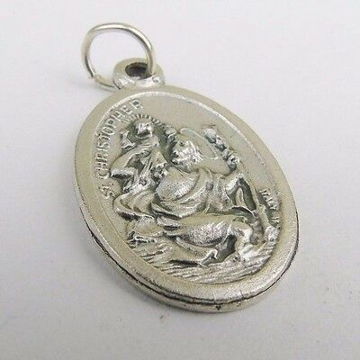 Vintage Silver Italy St Christopher Pendant Dropper Tag Medallion