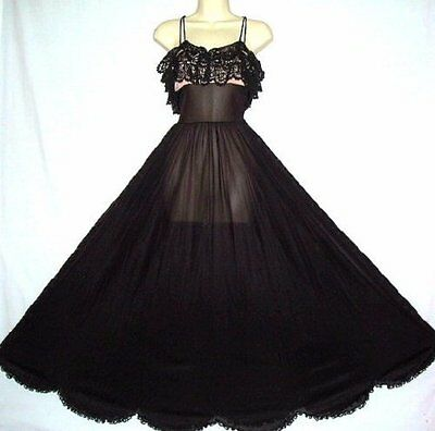 "Vtg Eyeful Black Over Pink Frilly Fem Scalloped 120"" Sweep Xtall Nightgown S"