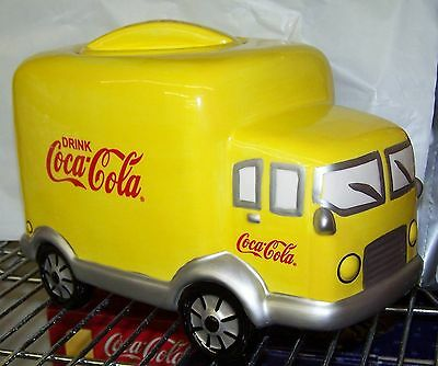 Case Lot Of 4 Wholesale Coke Coca Cola Yellow Ceramic Delivery Truck Cookie Jar