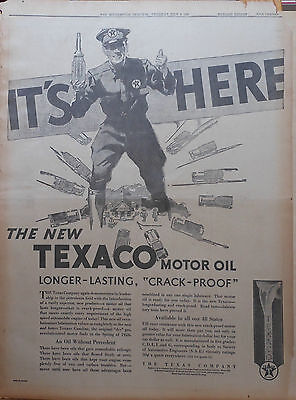 1930 full page newspaper ad for Texaco Motor Oil - giant station attendant
