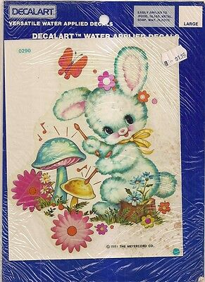 NOS Retro Nursery Decoupage Waterslide Decal White Fluffy Bunny Rabbit
