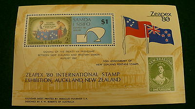 Zeapex 80 stamp exhibition New Zealand $1.00 Samoa stamp mini sheet P242