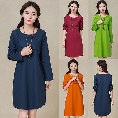 Fashion Pregnant Women Long Sleeve Casual Dresses Loose Maternity Short Dress