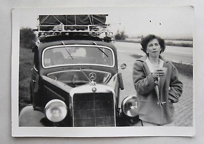 1950s B/W Photograph. Woman Next to Mercedes Benz 170 Car. West Germany? Holiday