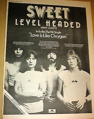 The SWEET Level Headed 1978 UK Poster size Press ADVERT 16x12 inches