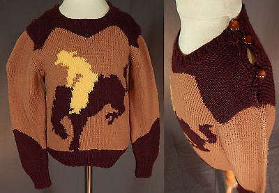 Vintage 1950s Childs Hand Knit Brown Wool Western Cowboy Bucking Bronco Sweater