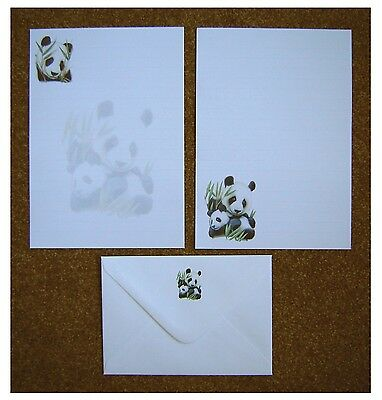 Panda Letter Writing Paper Stationery Set - 12 A5 sheets & 6 envelopes