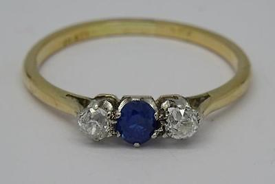 *Antique Edwardian 18ct Gold & Old Cut 0.33ct Diamond & Sapphire Ring c1915*