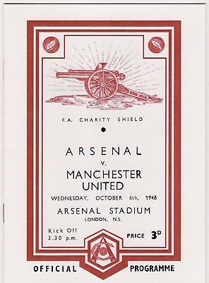 1948 CHARITY SHIELD**ARSENAL V MANCHESTER UNITED  6th OCT 1948***RARE REPRINT***