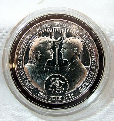 1986 Royal Mint Andrew & Fergie Royal Wedding Silver Proof Medal Acrylic Case