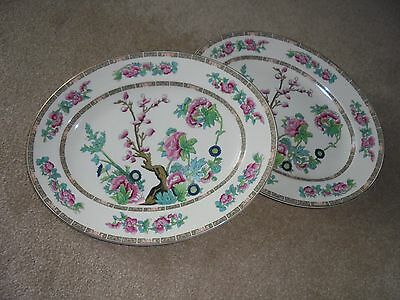 pair of MADDOCK - VINTAGE BONE CHINA INDIAN TREE LARGE OVAL SERVING PLATTERs