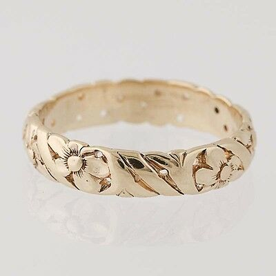 Vintage Floral Band Ring - 14k Yellow Gold Wedding Women's 6 1/4 - 6 1/2