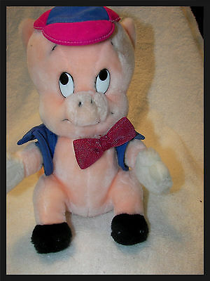 """Porky Pig vintage 1990  in bowtie and cap and vest 11"""" nice clean looney tunes"""