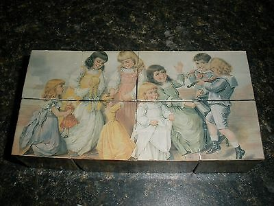 VTG COLLECTILBE Victorian FOLDING Wood? Block PICTURE Puzzle RUBIKS CUBE TOY