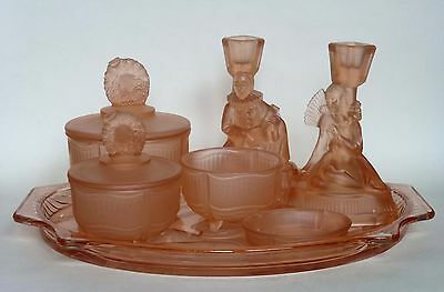 Art Deco Walther & Sohne Peach Glass Pierrot Dressing Table Set with Tray