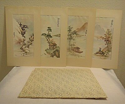 SALE!! Set of FOUR SEASONS Lithos by Ling-Fu Yang 1950s ~ Matted Prints (333)