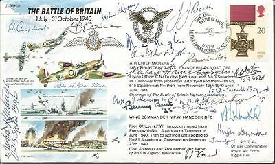 Nineteen Battle of Britain fighter pilots aces signed 50th Ann WW2 cover AK86