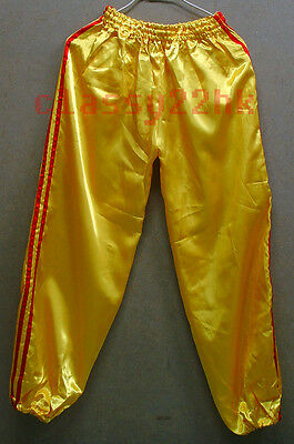 ONE (1) PAIR OF 38IN GOLDEN satin Lion Dance N Kung Fu Trousers pants SPECIAL