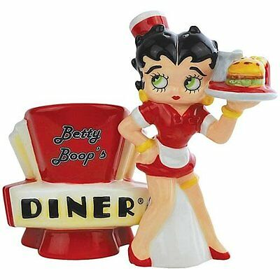 NEW BETTY BOOP DINER WAITRESS Salt Pepper Shakers SET Magnetic FIGURINE FIGU