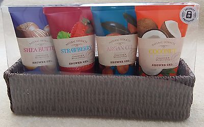 NATURAL EXTRACTS Shower Gel Set Coconut Shea Strawberry Argan Oil 75ml Bottles