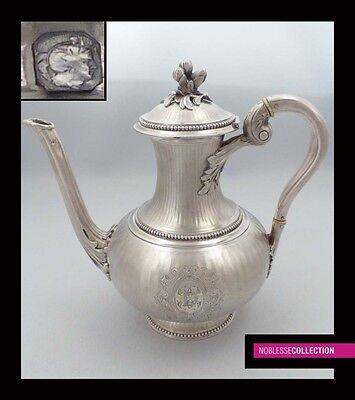 GORGEOUS ANTIQUE 1860s FRENCH FULL STERLING SILVER COFFEE POT Napoleon III Style