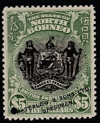 North Borneo (1664) - 1911 Arms $5 PRINTER's SAMPLE unmounted mint