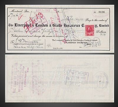 1916 - 1918 THE LIVERPOOL & LONDON & GLOBE INSURANCE CO Bank Cheques
