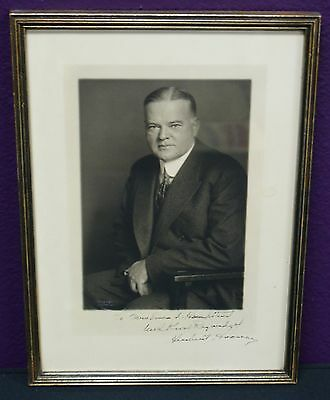 Herbert Hoover Harris & Ewing Photo Signed as President - Framed