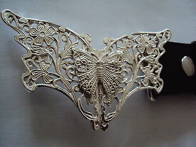 Solid Sterling Silver Butterfly with a Butterfly Centrepiece Belt Buckle