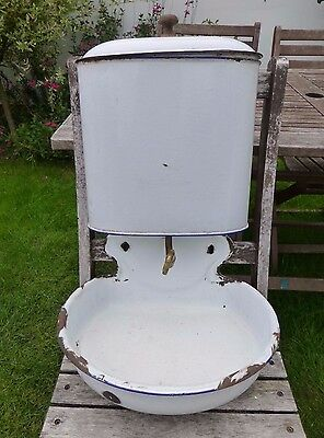 Antique French Enamelled Lavabo Sink Tank Basin Shabby Chic Early 20th Century